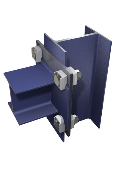 Типовой узел перпендикулярного соединения двутавровых балок с использованием приваренной пластины к торцу вертикальной балки через фланец с отверстиями.