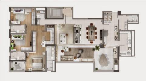 planta apartamento 4 dormitórios chácara santo antônio