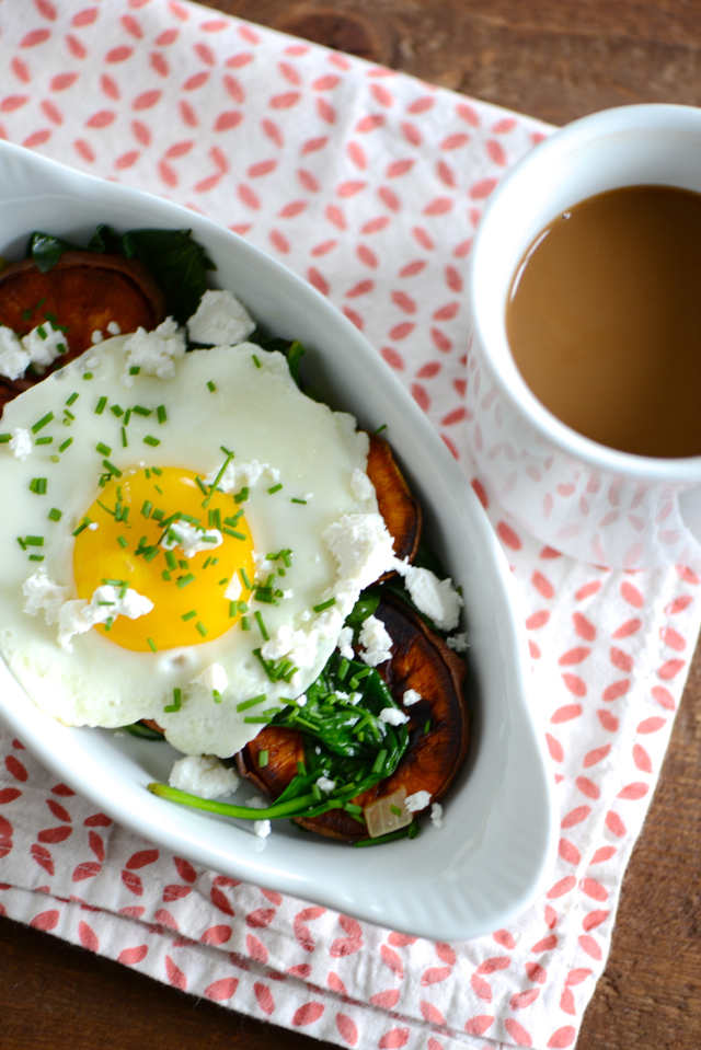 Sweet Potato and Spinach Breakfast Bowl with a Fried Egg M Loves M @marmar