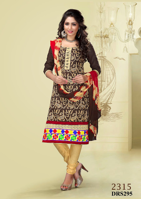 Buy Online Designer Embroidery Churidar Dress Material