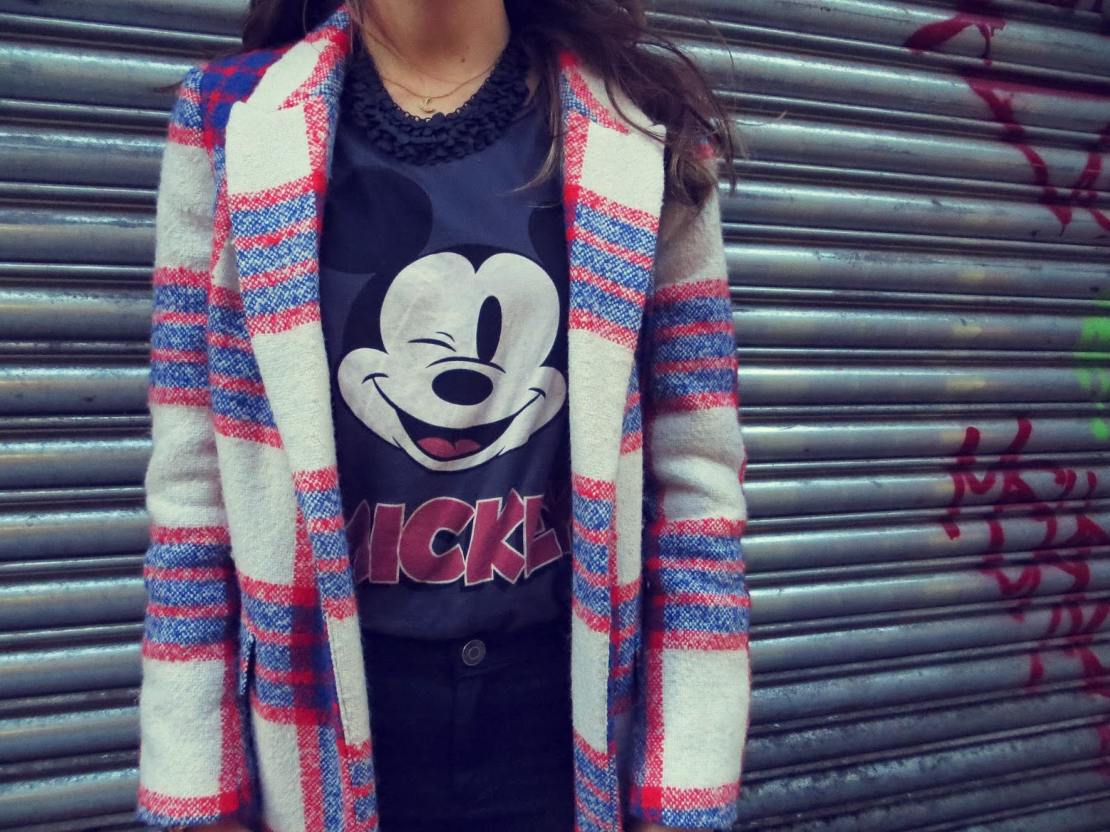 red blue cream plaid coat manly menswear masculine androgynous mickey mouse topshop zara fashio ndaily look look post blog new look frilly socks