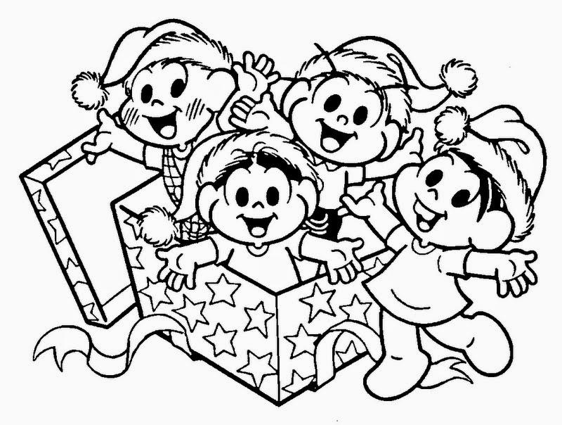 desenho turma da monica no natal