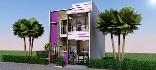 rumah minimalis nuansa ungu