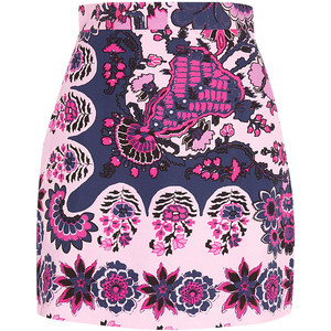 The floral-print crepe mini skirt comes from a brand called MSGM