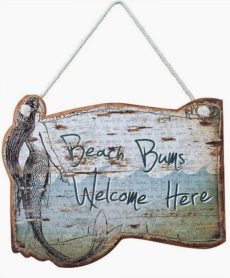 Beach Bums Welcome Here Wood Sign