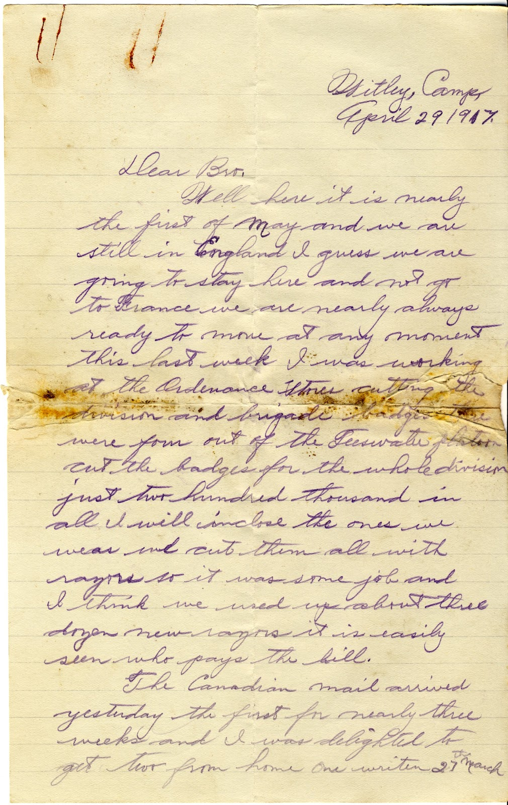 Letters From World War One April 29 1917 Witley Camp