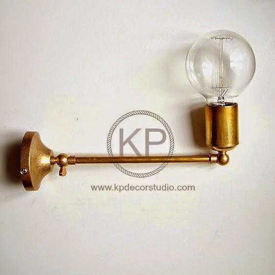 lampara artesanal en laton estilo industrial