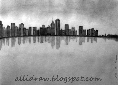City Under Clouds Sketch by Maninder Pal Singh