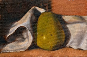 Oil painting of a green pear nestled amongst the folds of a white tea towel.