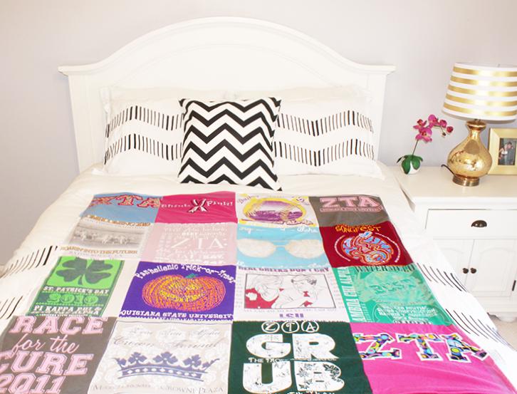 sorority greek t-shirt quilt blanket