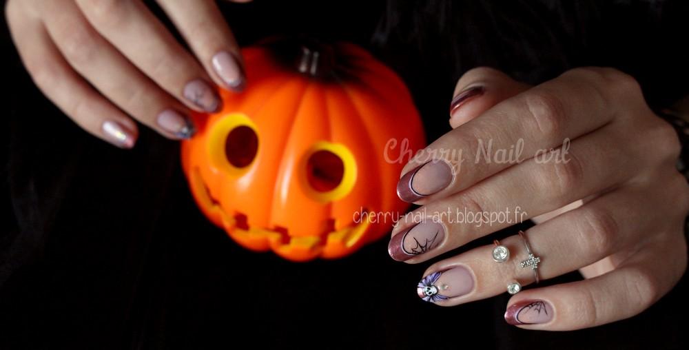 halloween nail art noeud tete de mort sur french manucure