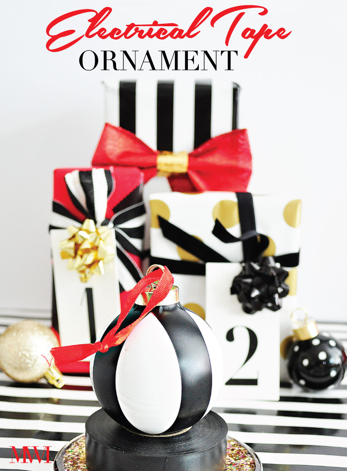Black White Striped Holiday Ornament