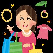 ショッピングのイラスト「買い物をしている女性」