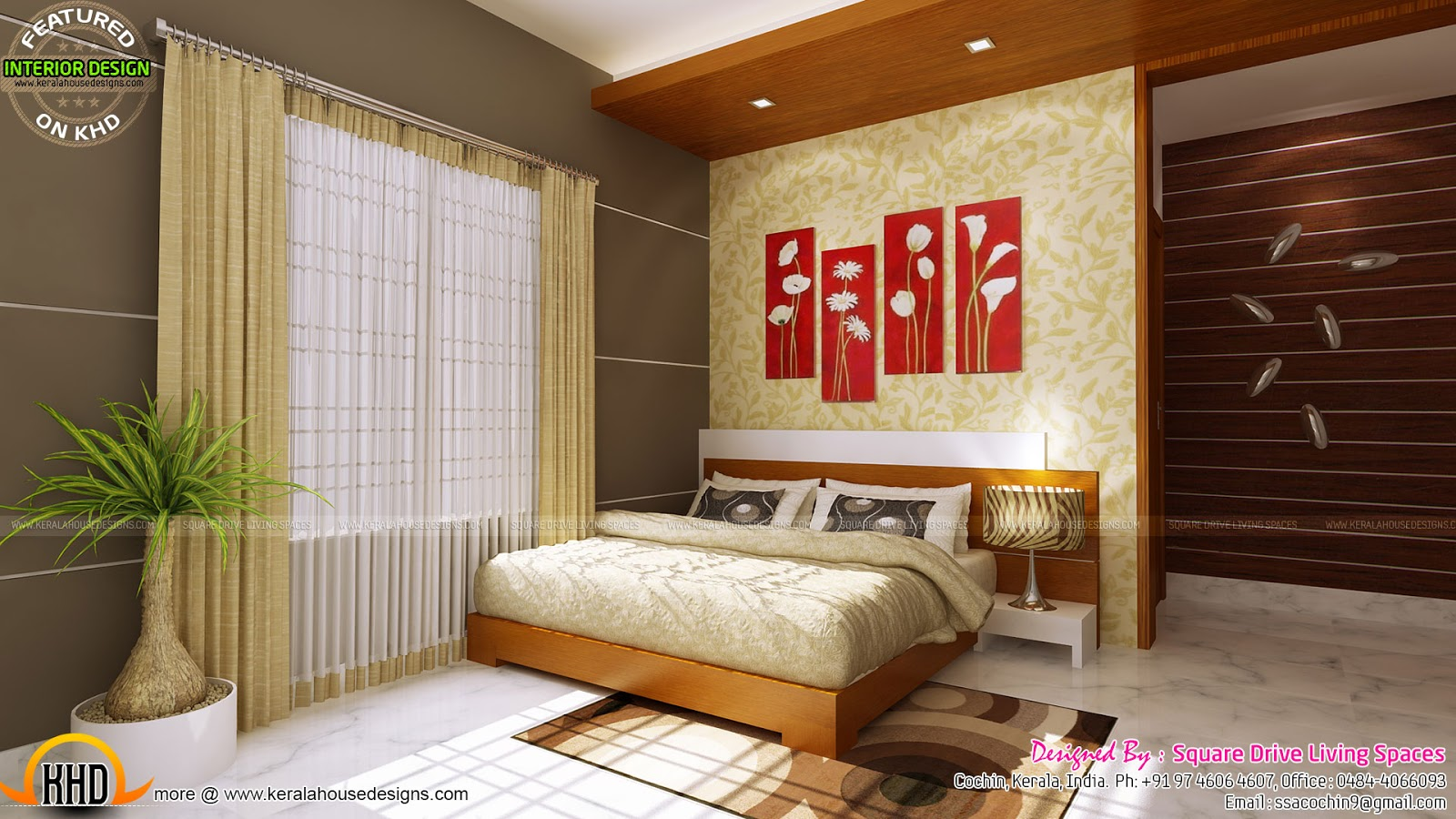 Simple 18 Kerala Style Bedroom Interior Designs Images