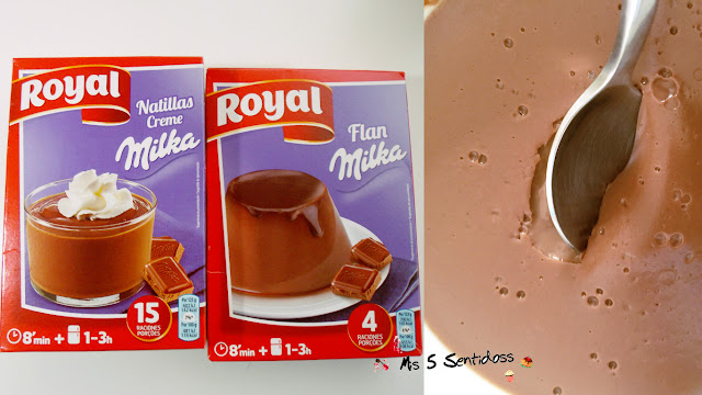Postres Royal natillas y flan milka