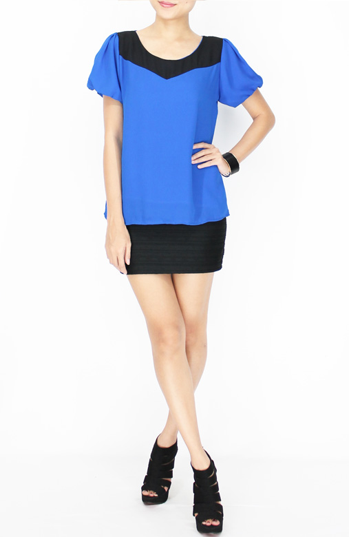 Cobalt Arrow Block Blouse with Puff Bubble Sleeve