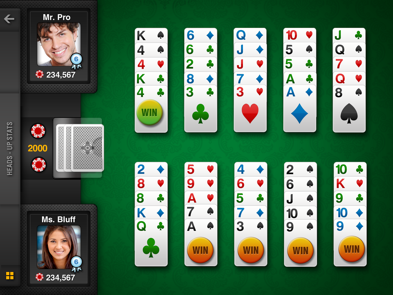 Five o poker free live heads up card game play 5 poker hands at once