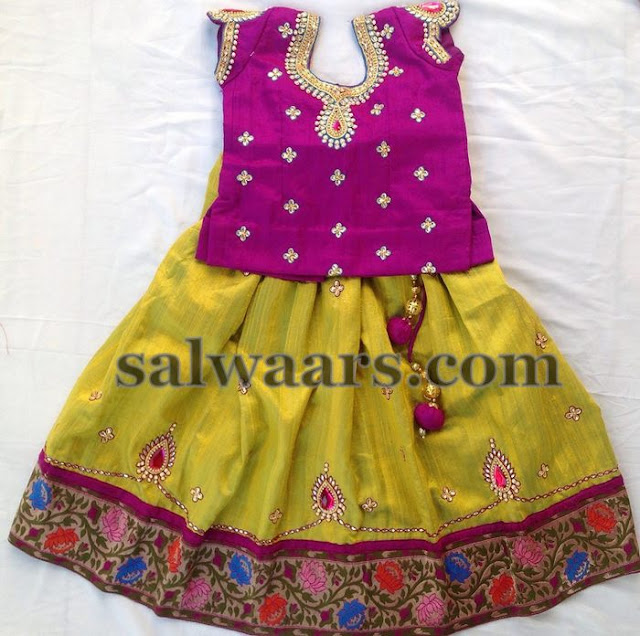 Green and Yellow Shades Cute Lehenga