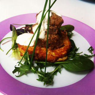 Lamb Tikka with Curried Cauliflower Pancakes