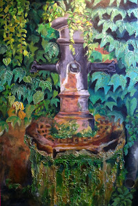 """Roman Fountain"" acrylic on canvas"