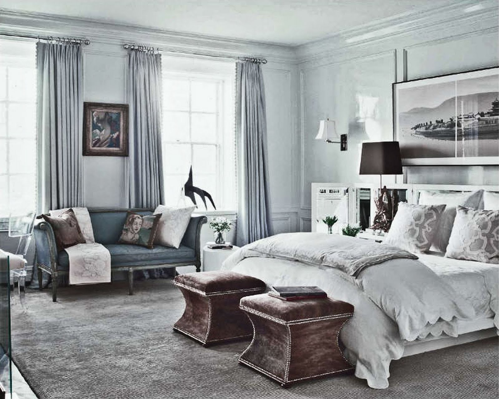 Simple everyday glamour picture perfect bedroom for Blue white and silver bedroom ideas