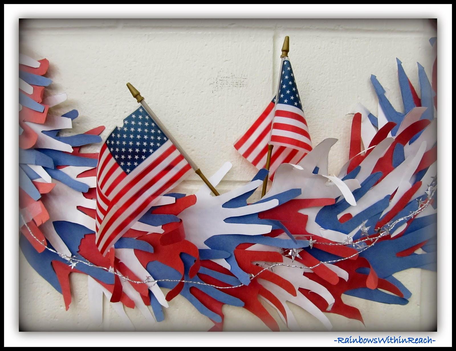 Traced Hands Create a Patriotic Wreath via RainbowsWithinReach