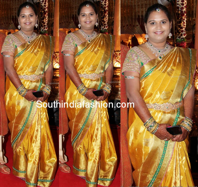 golden yellow kanjeevaram saree
