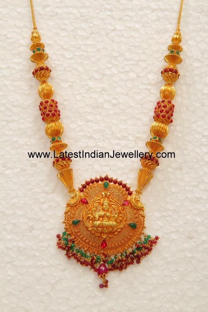 Lakshmi Pendant Gold Temple Haram