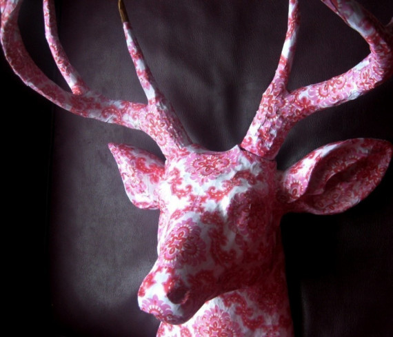 pink papered resin deer head