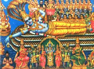 Sanata-kumars, the four child sages saluting Vishnu