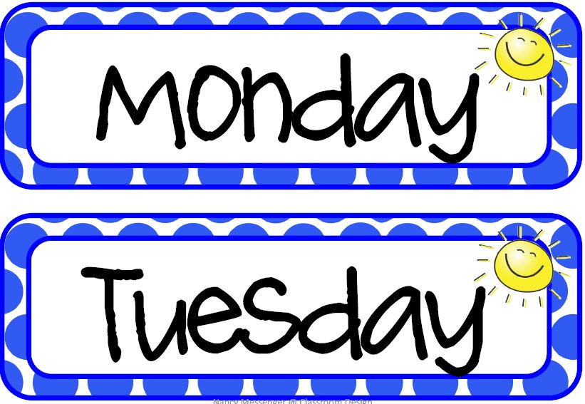 Days Of The Week Clip Art Well i have another week and