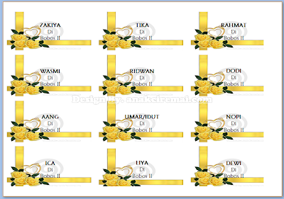 Label Undangan Unik dengan Background Gambar Bunga