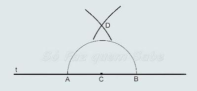 Com o compasso nos pontos A e B traçamos dois arcos que se cruzam achando o ponto D