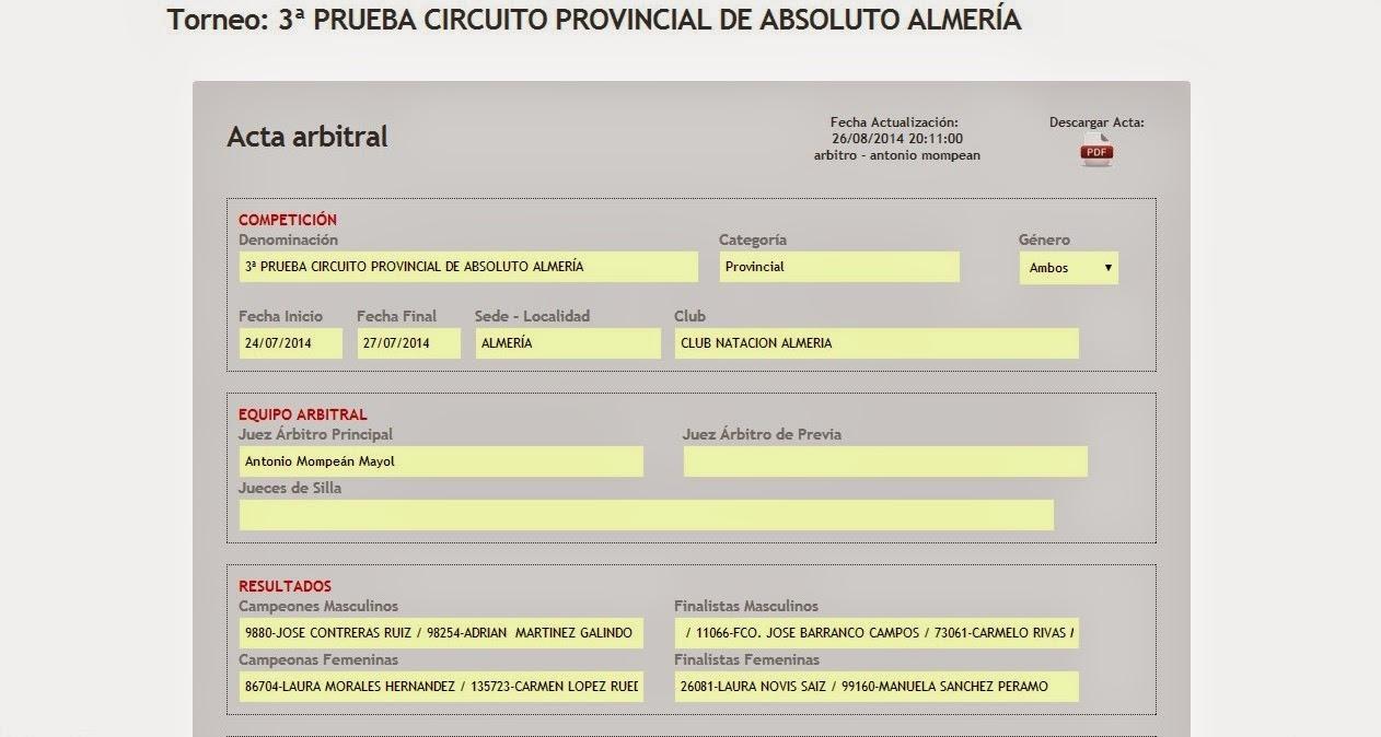 Captura de pantalla mostrando Acta Arbitral del Sistema de Gestión de la FEP.
