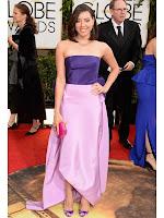 Обри Плаза рокля с шлейф Oscar de la Renta Златен глобус 2014