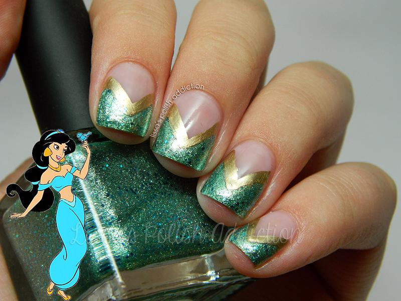 Lissas Polish Addiction Jasmine Disney Princess Nail Art