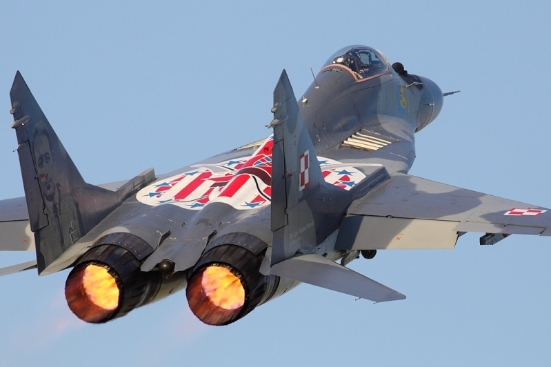 Polish mikoyan mig 29 fulcrum fighter jet with special marking for the