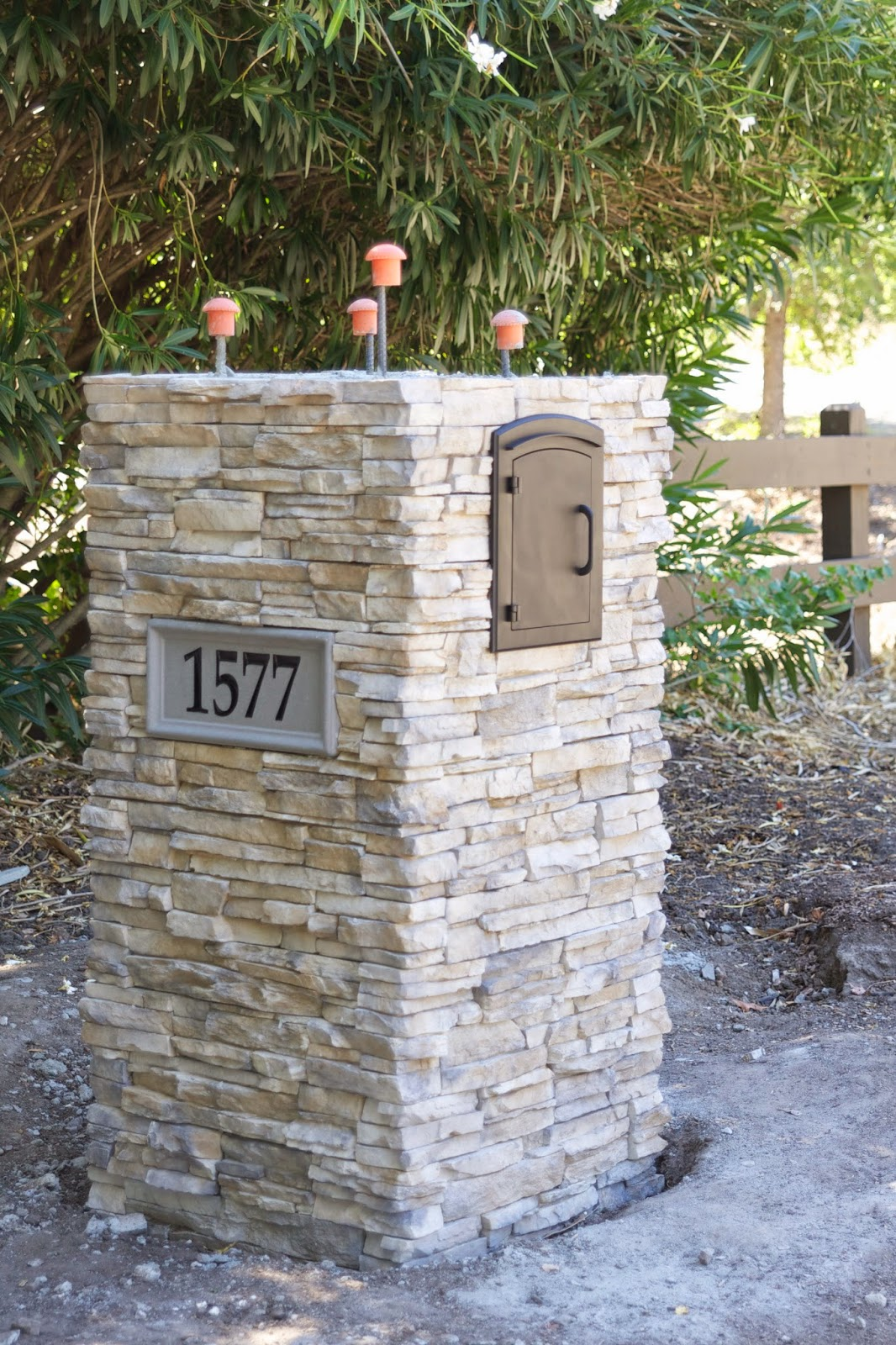 Stacked Stone Pillar : Simply organized outdoor update stacked stone pillar
