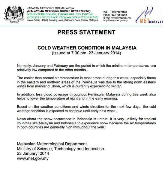 Kenyataan Akhbar MET - Cuaca Sejuk Melanda Malaysia