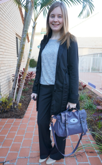 Away From Blue Daily Outfit Pinstripe Pants Grey Knit Jumper Heels
