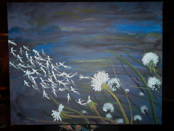 as a breeze blows in a dark field, dandelion heads release and float away, turning into spirits