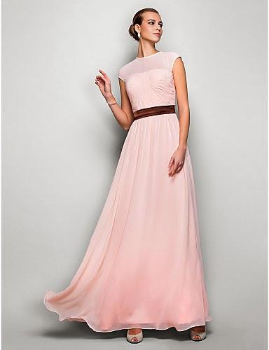 Vestido largo de ceremonia rosa palo