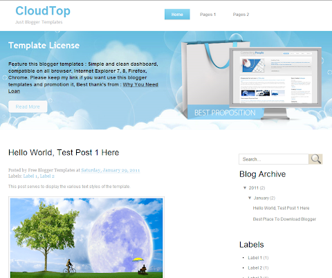 CloudTop Blogger Theme