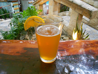 Beer with orange garnish