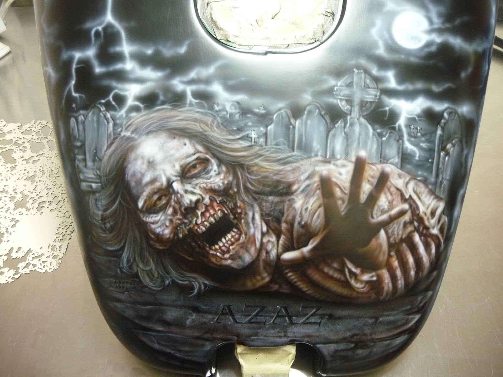 Airbrush asylum zombie harley airbrushed murals for Airbrushed mural