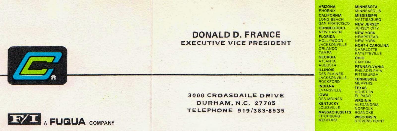 Speak memory time regained donald delbert france business cards donald delbert france business cards 1970s 1980s reheart Images