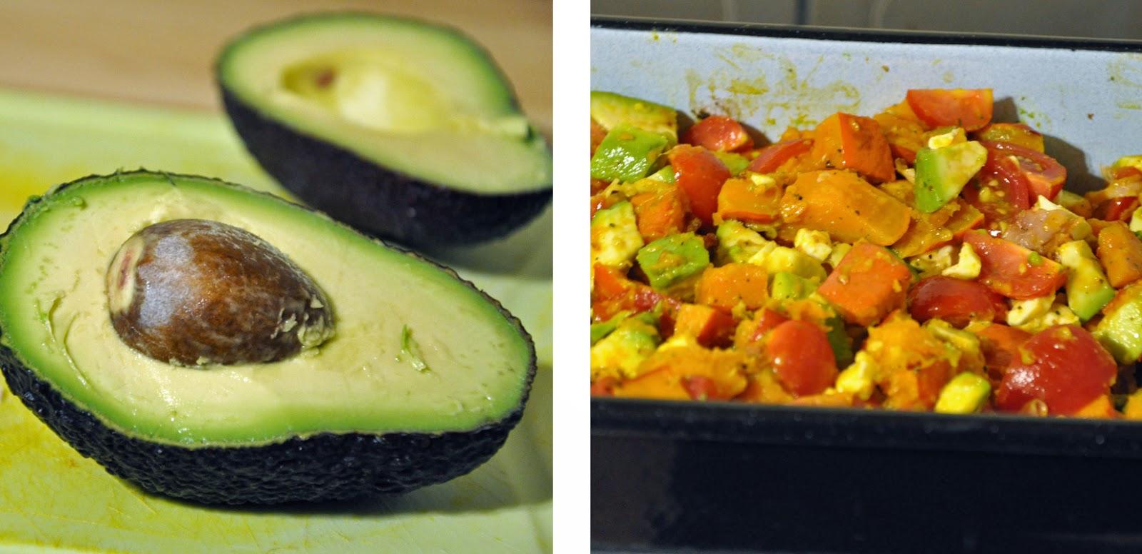 Kürbis-Caprese deluxe | Avocado, Tomaten, Mozzarella und Marinade zum gebackenen Kürbis geben