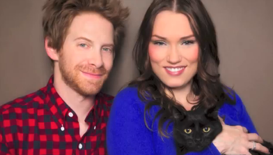 Celebrity Pet Adoption Calendar 2014 - one month's photo of a couple and their cat