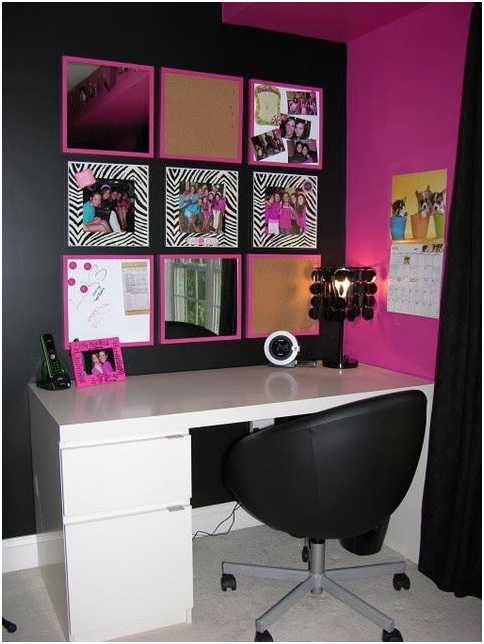 DESK FOR GIRLS BLACK AND FUCHSIA DECORATION