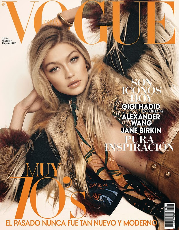 Gigi Hadid covers Vogue Spain March 2015 in a Gucci fur look